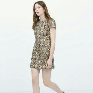 Zara women jacquard straight mini dress